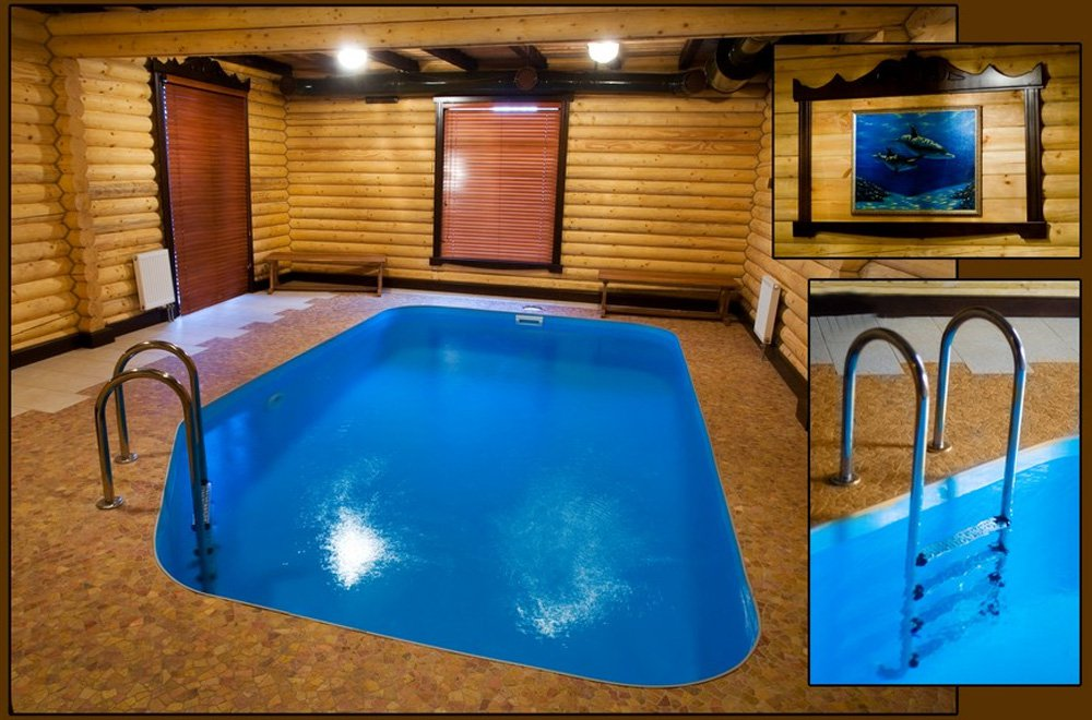 Санузел и бассейн  в бане
