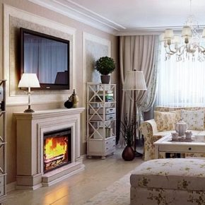 Интерьер гостиной с камином - фото (100)