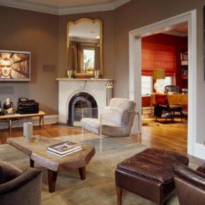 Интерьер гостиной с камином - фото (104)