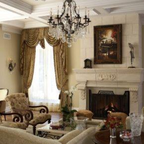 Интерьер гостиной с камином - фото (105)