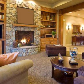 Интерьер гостиной с камином - фото (108)