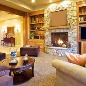Интерьер гостиной с камином - фото (111)
