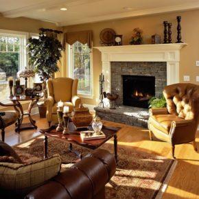 Интерьер гостиной с камином - фото (2)