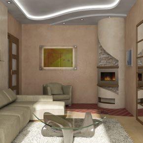 Интерьер гостиной с камином - фото (27)