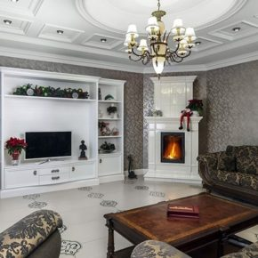 Интерьер гостиной с камином - фото (30)