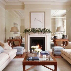 Интерьер гостиной с камином - фото (31)