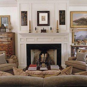 Интерьер гостиной с камином - фото (34)