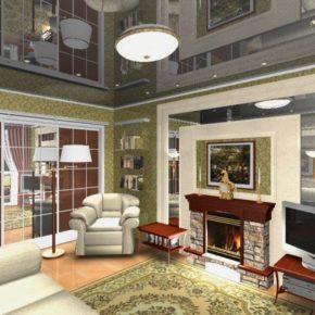 Интерьер гостиной с камином - фото (36)