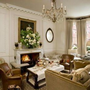Интерьер гостиной с камином - фото (39)