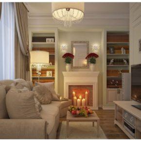 Интерьер гостиной с камином - фото (43)