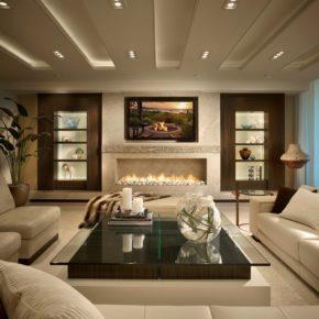 Интерьер гостиной с камином - фото (47)