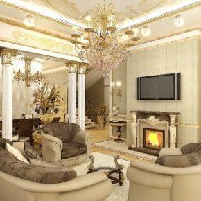 Интерьер гостиной с камином - фото (48)