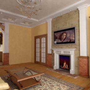 Интерьер гостиной с камином - фото (55)