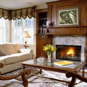 Интерьер гостиной с камином - фото (56)