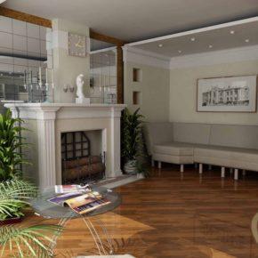 Интерьер гостиной с камином - фото (6)