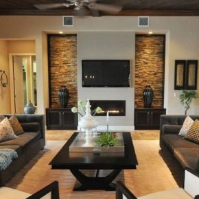 Интерьер гостиной с камином - фото (60)