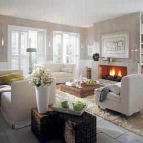 Интерьер гостиной с камином - фото (64)