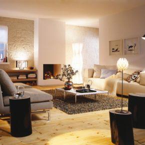 Интерьер гостиной с камином - фото (7)