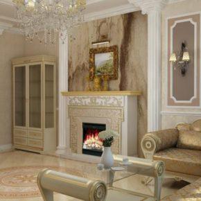 Интерьер гостиной с камином - фото (72)