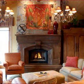 Интерьер гостиной с камином - фото (85)