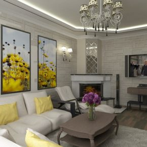 Интерьер гостиной с камином - фото (87)