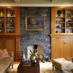 Интерьер гостиной с камином - фото (98)