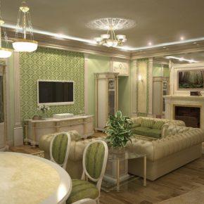 Интерьер гостиной с камином - фото (99)